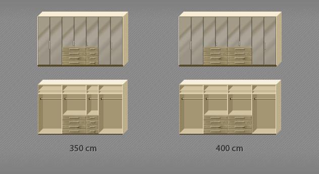 Grafik der Inneneinteilung des Eiche-Kleiderschranks Dartfords mit Sahara-Glas von 7 bis 8-türig