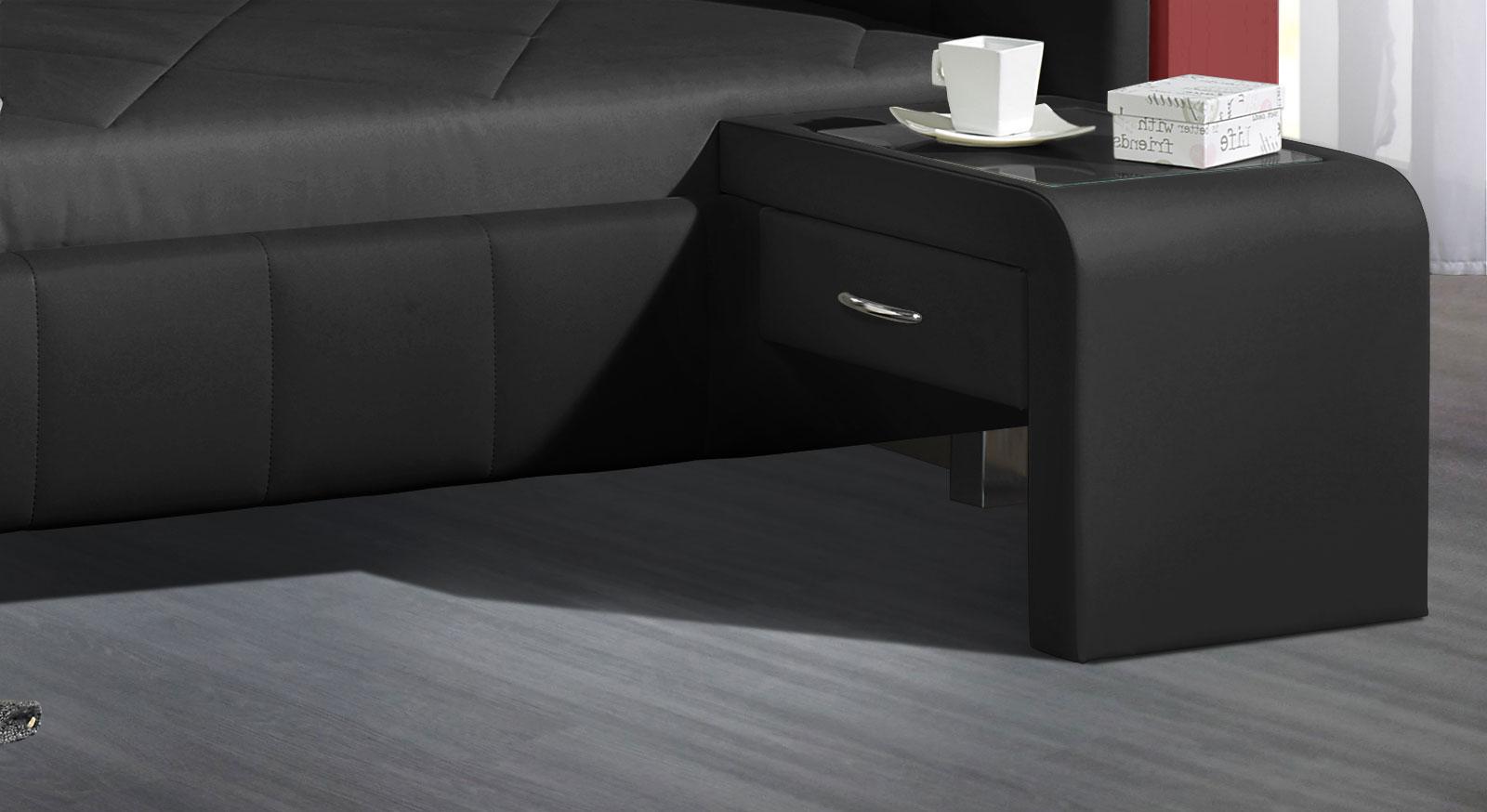 Einhängekonsole Nuca aus Kunstleder in Schwarz