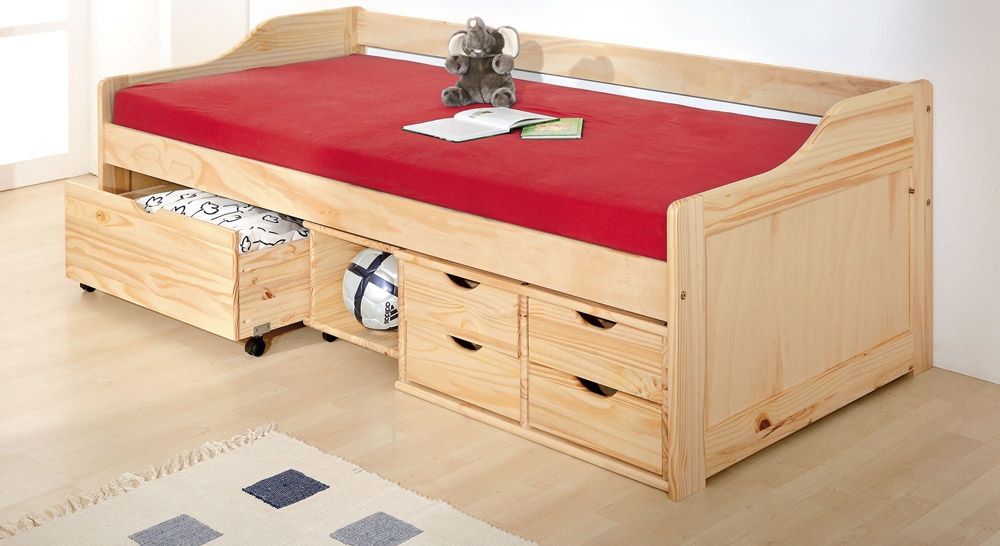 schubkasten einzelbett anna in 90 x200 cm. Black Bedroom Furniture Sets. Home Design Ideas