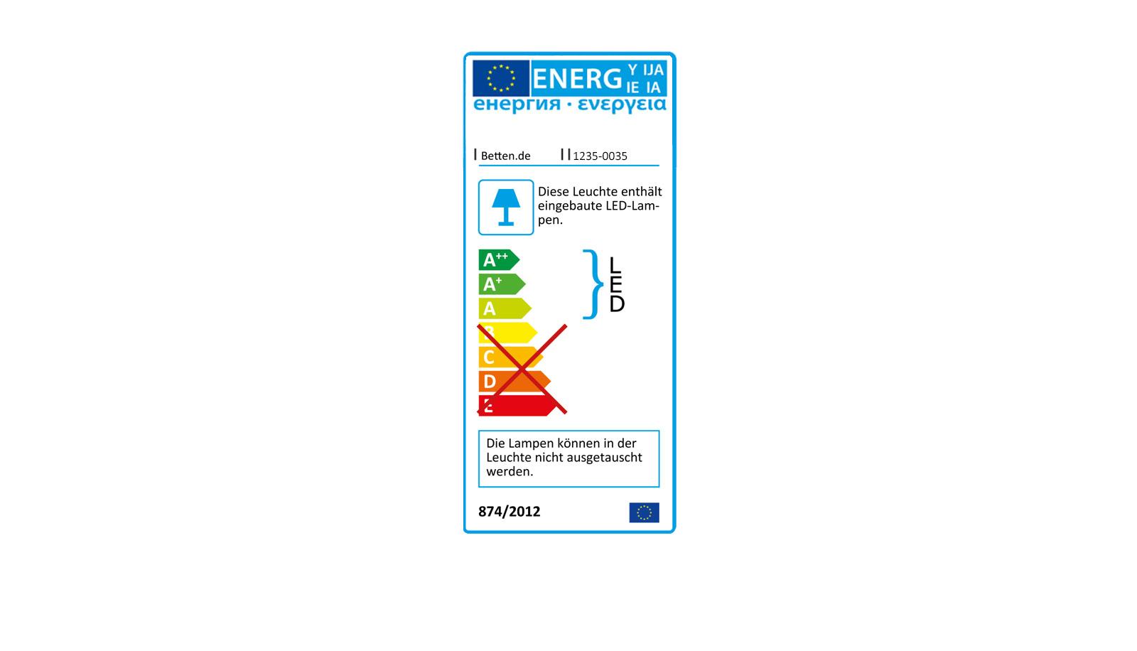 """Energiekennzeichnung zu den LED-Lampen des Nachttischs """"Huddersfield"""""""