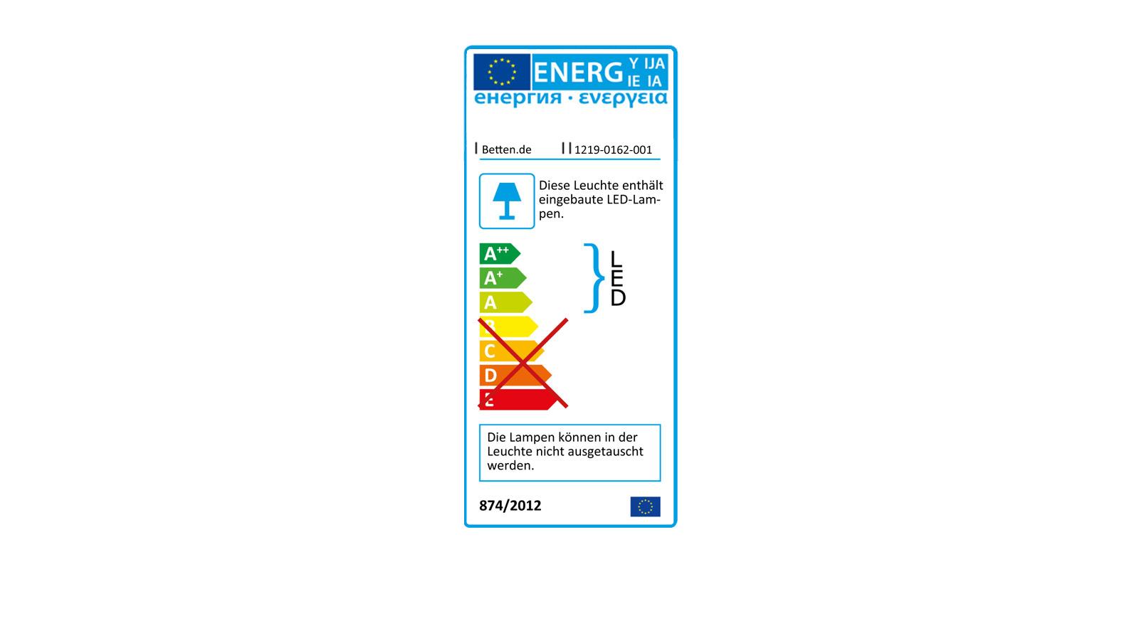 Energieverbrauchskennzeichnung der Bettleuchten Watford