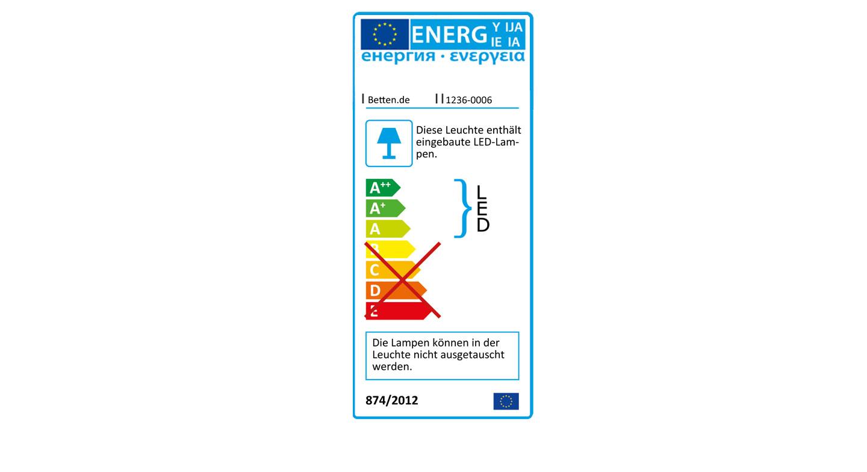 Energieverbrauchskennzeichnung der LED-Leuchte im Rahmen der Falttüren-Schränke