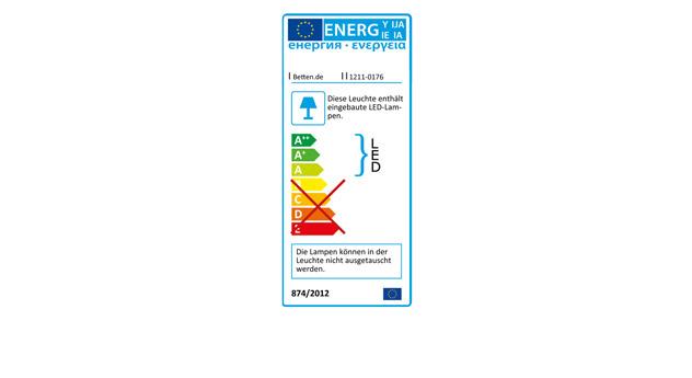 Energieverbrauchskennzeichnung für die Nachttischleuchte Quebo