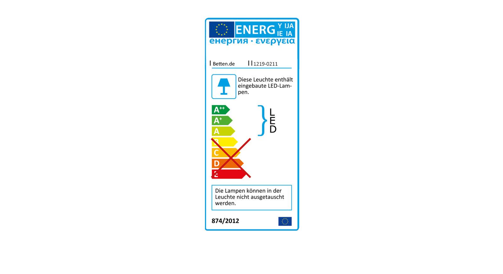 Energieverbrauchskennzeichnung für die Bettleuchten Beyla