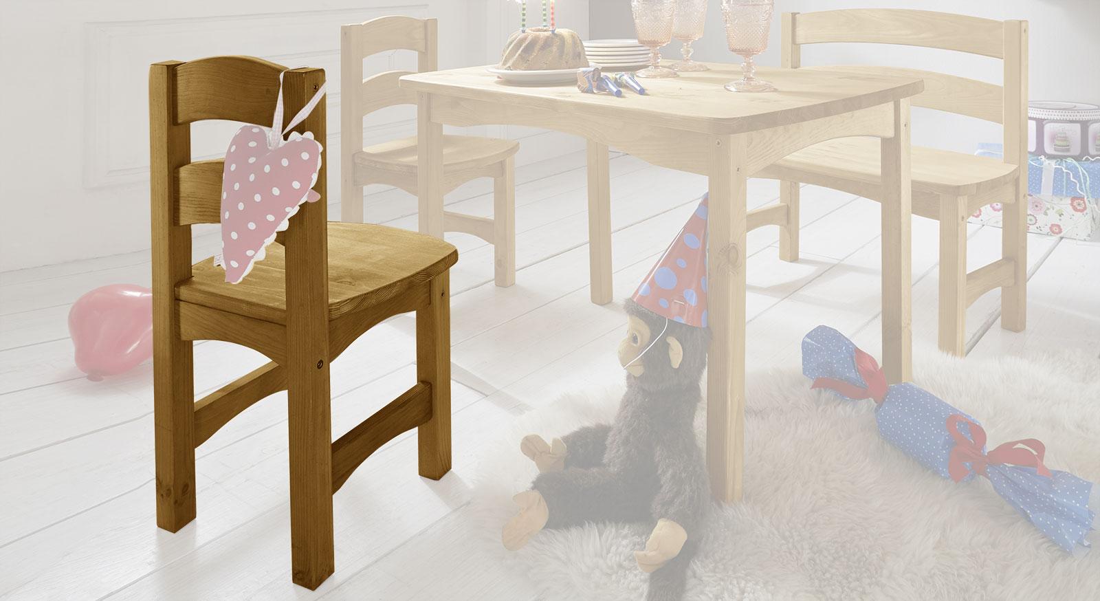 Erweiterung für die Kindersitzgruppe Kids Paradise - Stuhl in Kiefer gelaugt