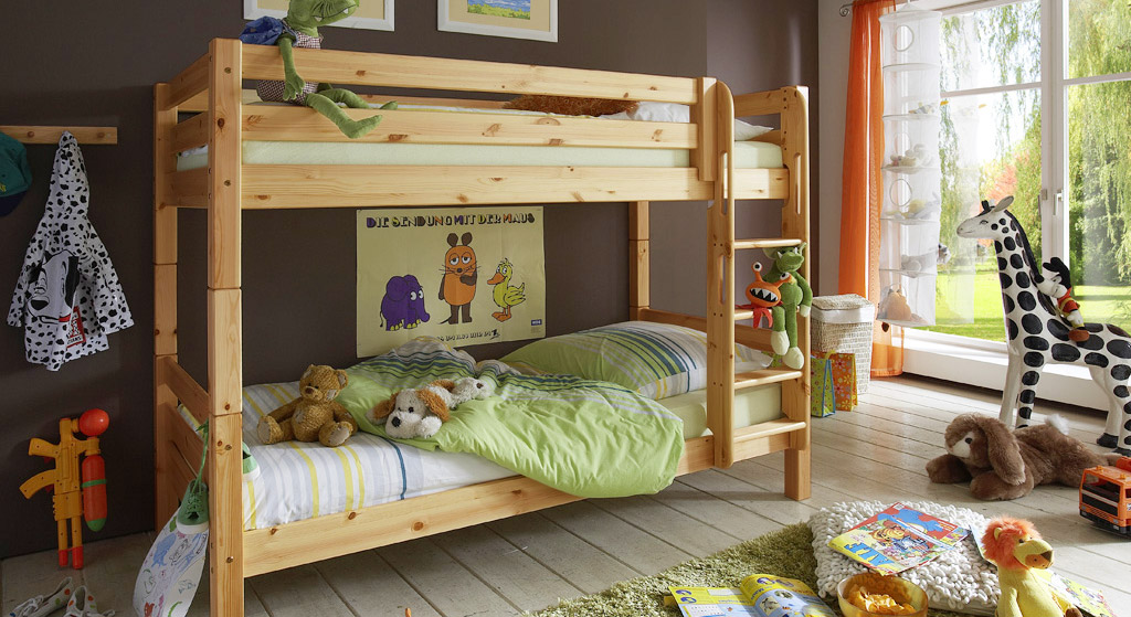 etagenbett f r kinderzimmer aus kiefer kids paradise. Black Bedroom Furniture Sets. Home Design Ideas