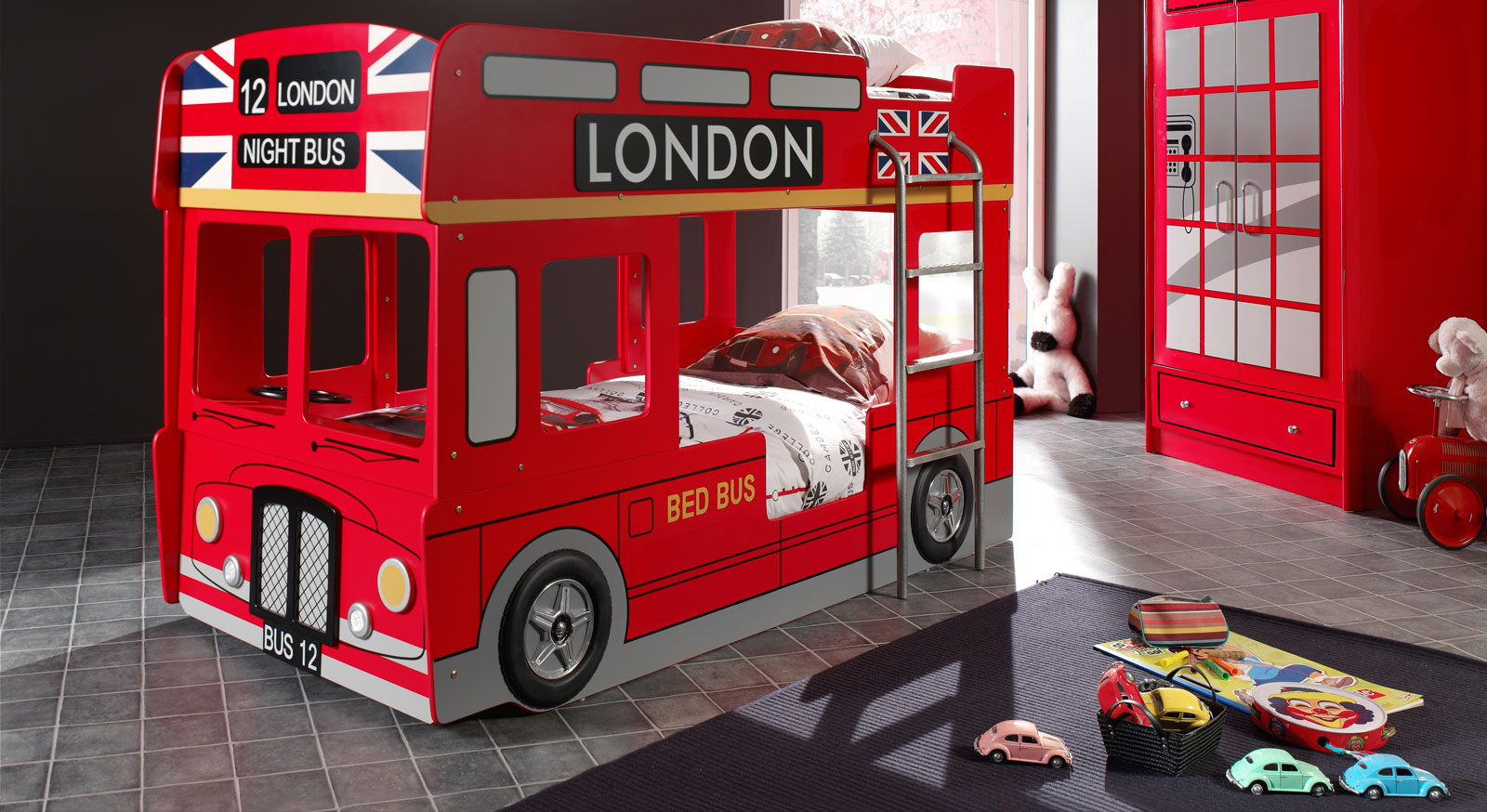 Bus Bett Etagenbett : Auto etagenbett in rot als london doppeldecker paddington
