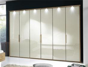 Falttüren Kleiderschrank Morley Mit Hellem Glas In Magnolie