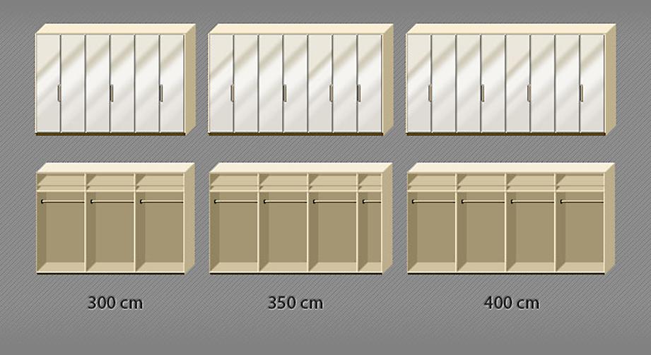 Grafik der Inneneinteilung des Falttüren-Kleiderschranks Morley mit Magnolie-Front von 6- bis 8-türig