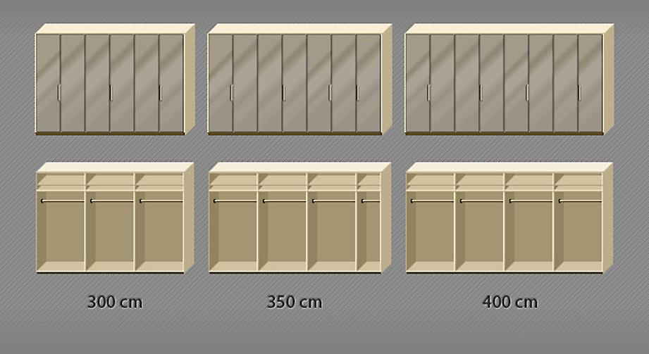 Grafik der Inneneinteilung des Falttüren-Kleiderschranks Morley mit Sahara-Front von 6 bis 8-türig