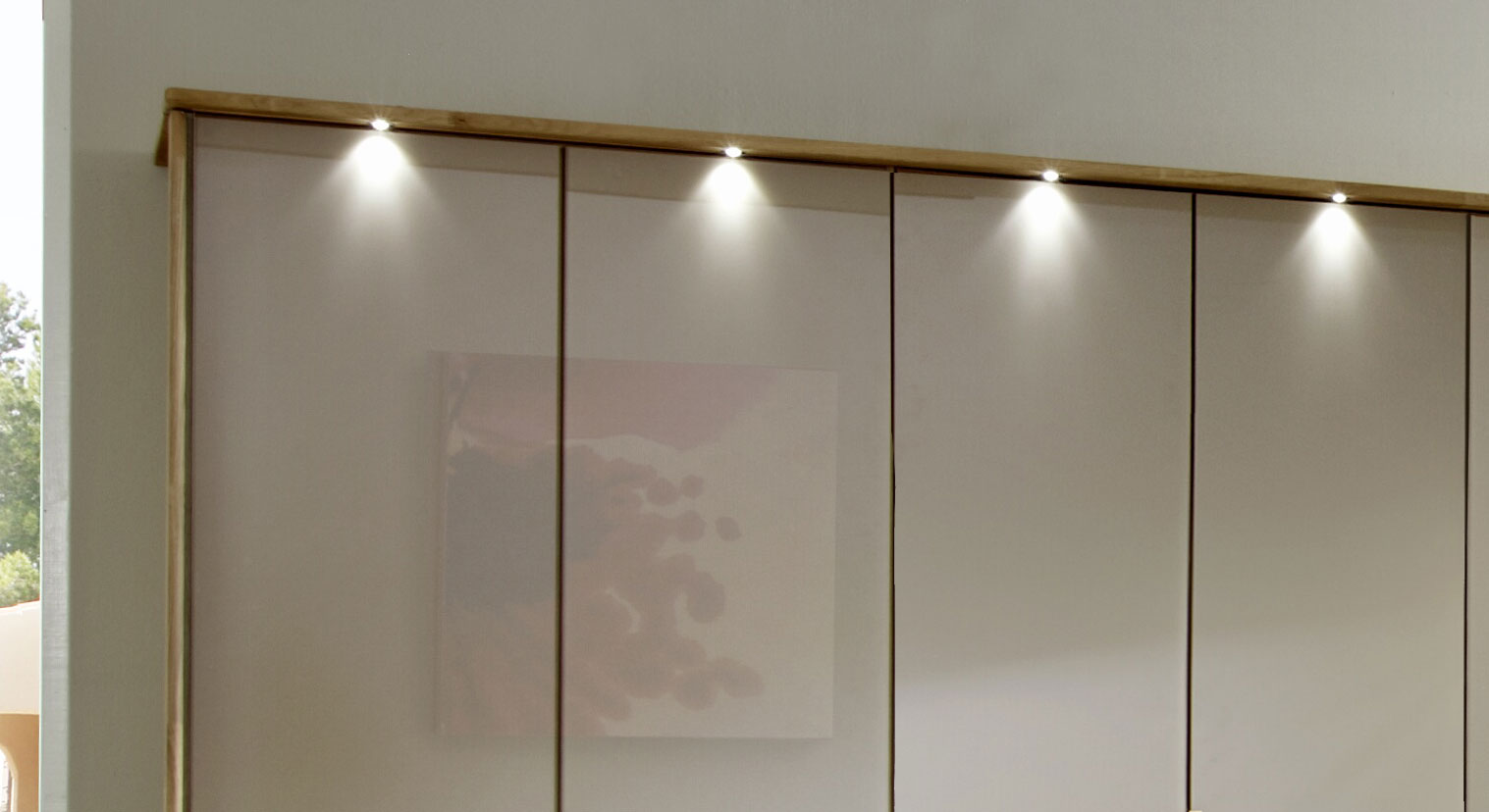 Falttüren-Kleiderschrank Morley in Sahara-Glas mit optionalem Rahmen