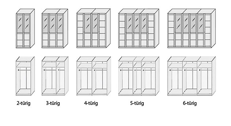 Fronten und Inneinteilung Kleiderschrank Luba in der Uebersicht