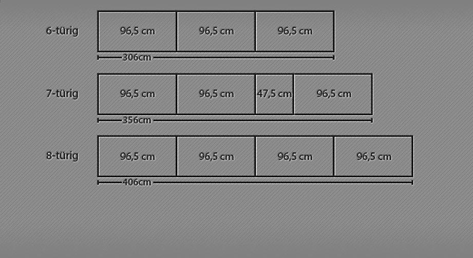 Grafik für den Drehtüren-Kleiderschrank bis zu 8 Türen