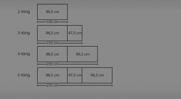 Grafik für den Drehtüren-Kleiderschrank Dabola bis zu 5 Türen