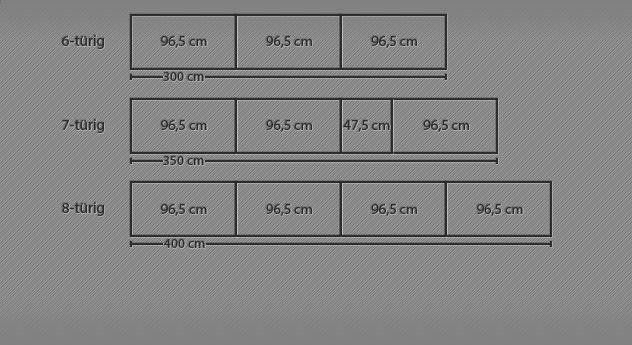 Grafik für den Drehtüren-Kleiderschrank Dabola bis zu 8 Türen