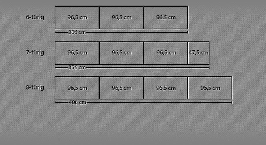Grafik für den Drehtüren-Kleiderschrank Farim mit 8 Türen