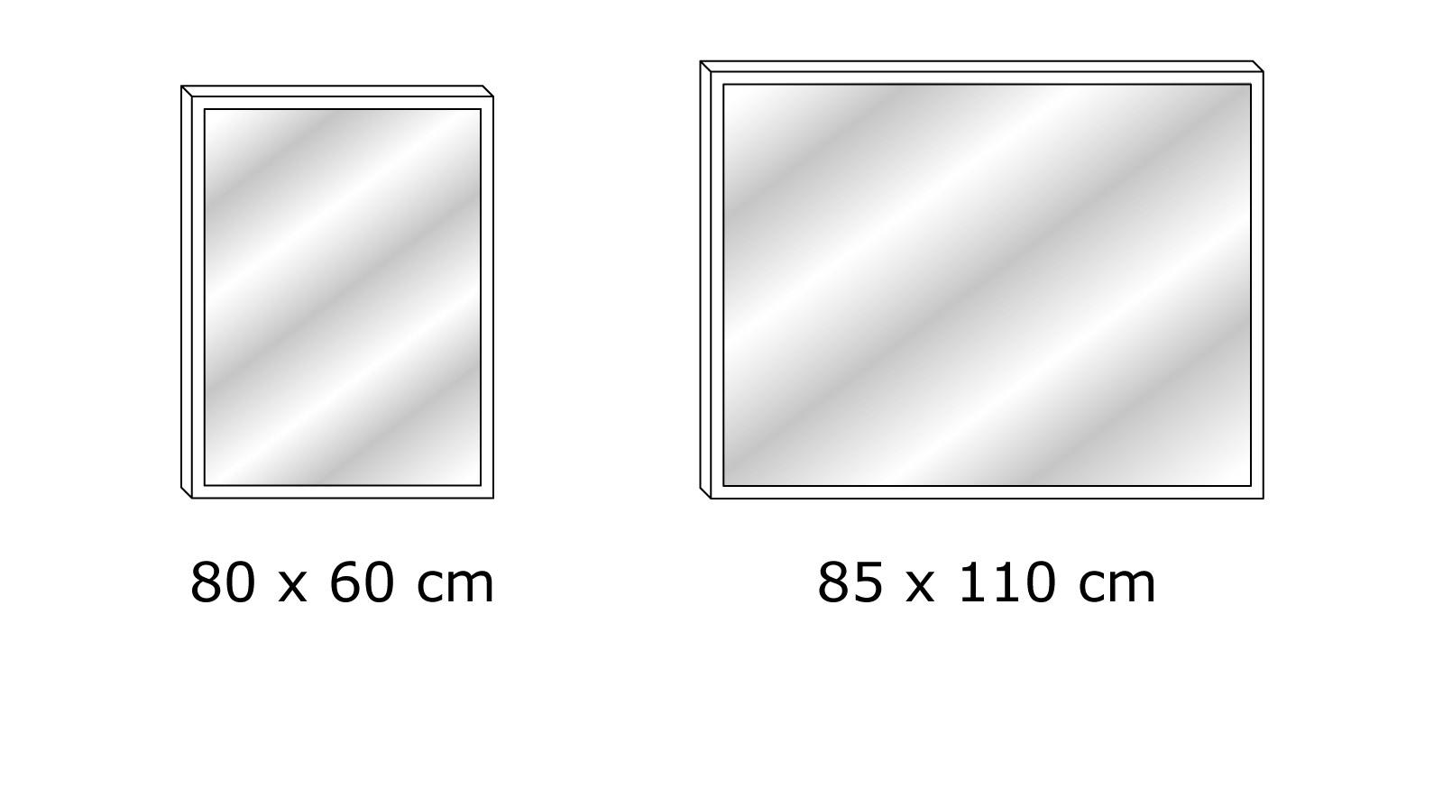 Grafik der 2 Varianten des Wandspiegels