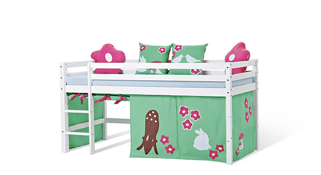 halbhohes bett umbaubar in wei lackierter kiefer kids heaven. Black Bedroom Furniture Sets. Home Design Ideas