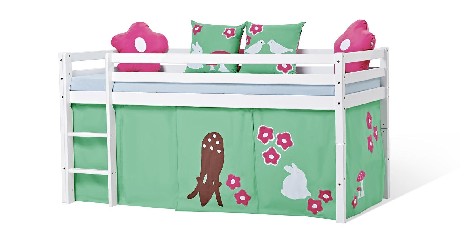 Halbhohes Bett Kids Heaven mit Spielvorhang Rotkäppchen