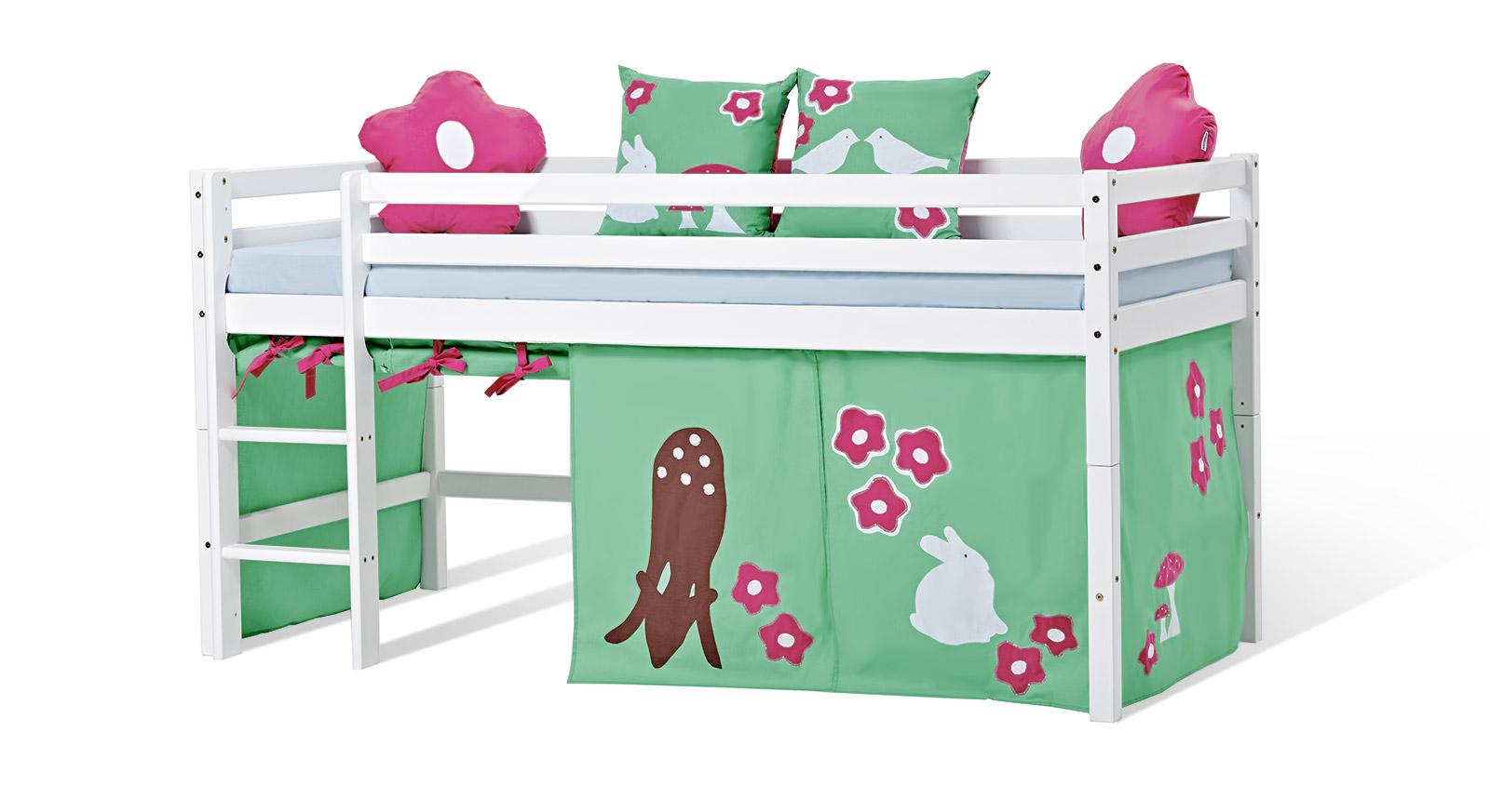 Halbhohes Bett Kids Heaven mit grünem Spielvorhang Rotkäppchen