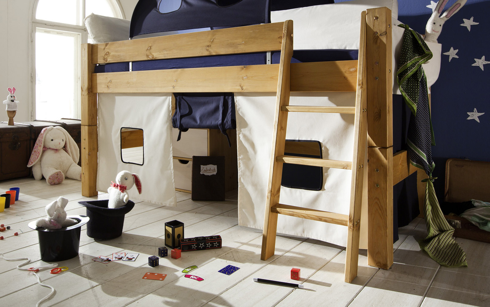 himmelbett hochbett kiefer mit rutsche baldachin kids dreams. Black Bedroom Furniture Sets. Home Design Ideas