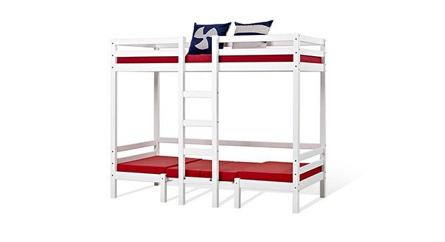 Hoch- und Etagenbett Kids Heaven aus weiß lackiertem Massivholz
