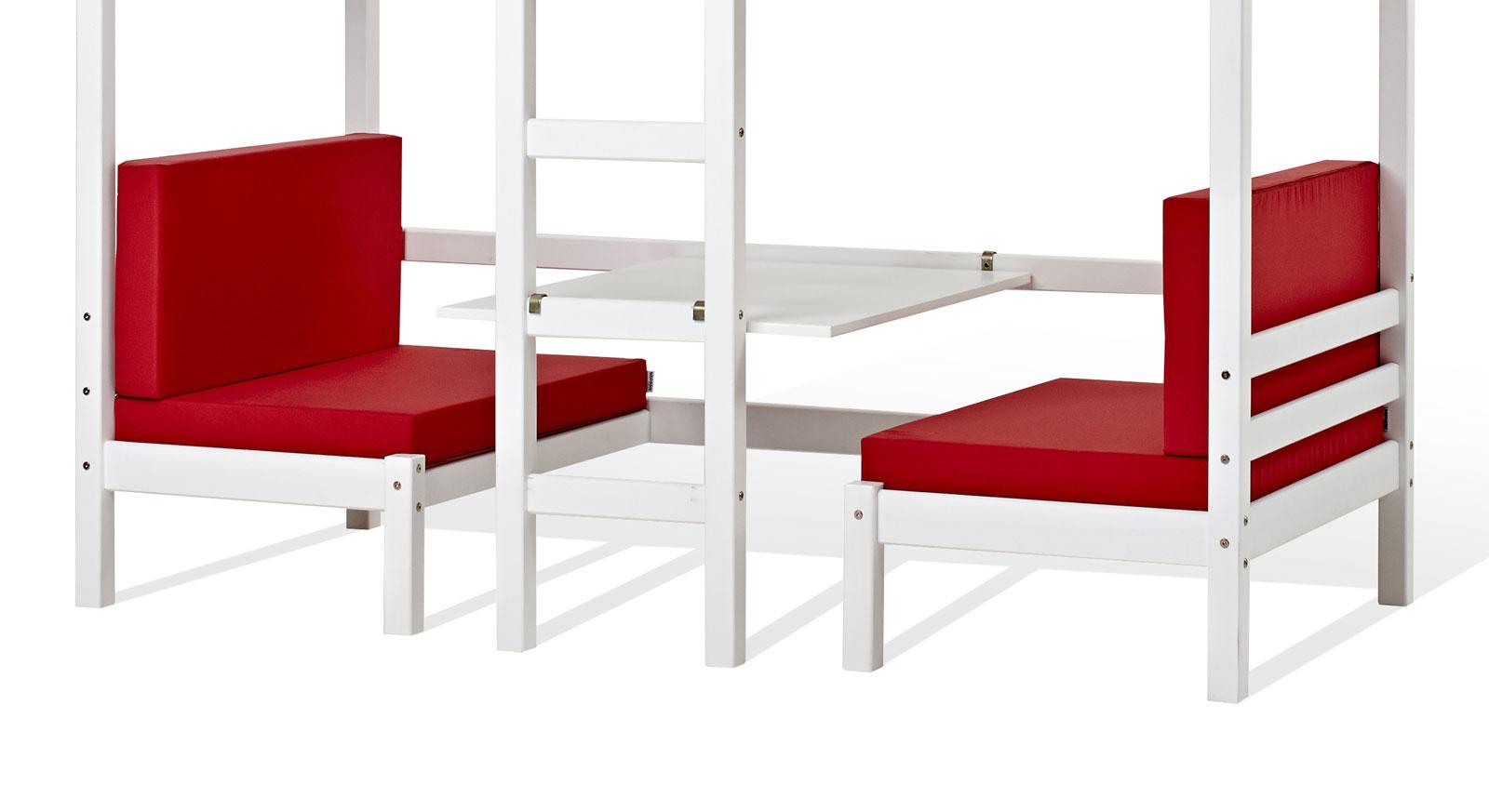 Stabiles Hoch- und Etagenbett Kids Heaven mit praktischer Sitzgruppe