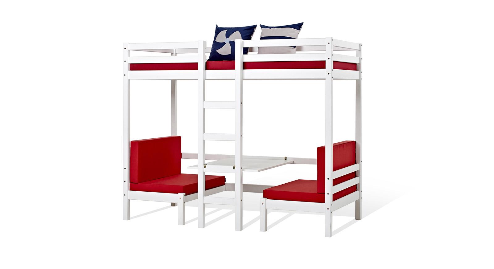 hochbett oder etagenbett mit sitzgruppe und tisch kids heaven. Black Bedroom Furniture Sets. Home Design Ideas