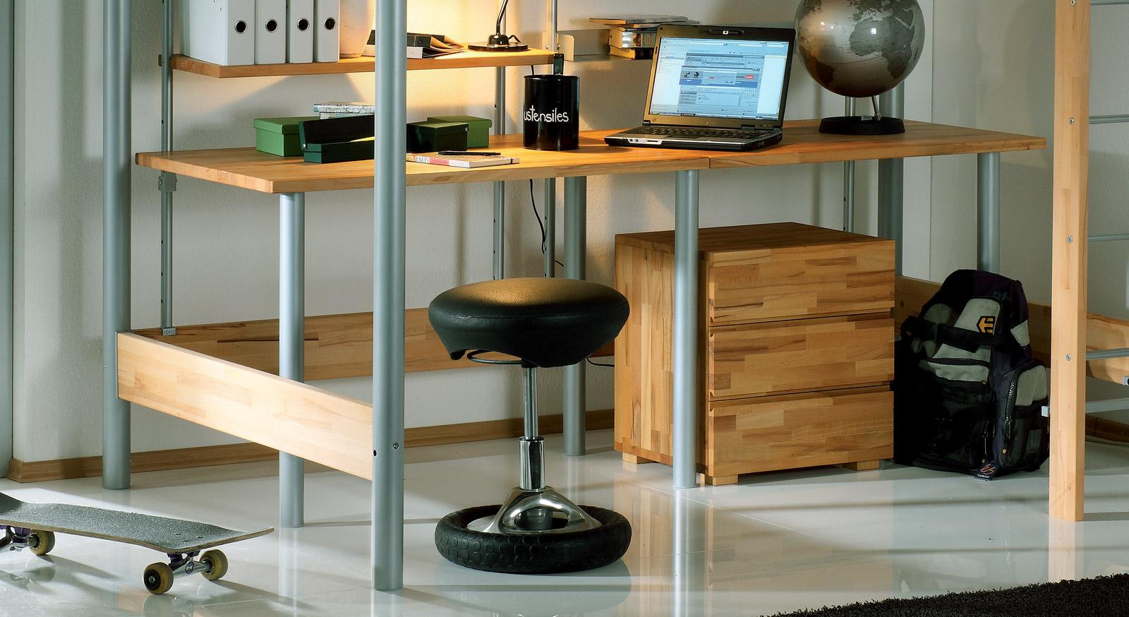 Hoch-und Etagenbett Steven optionaler Schreibtisch und Nachttisch