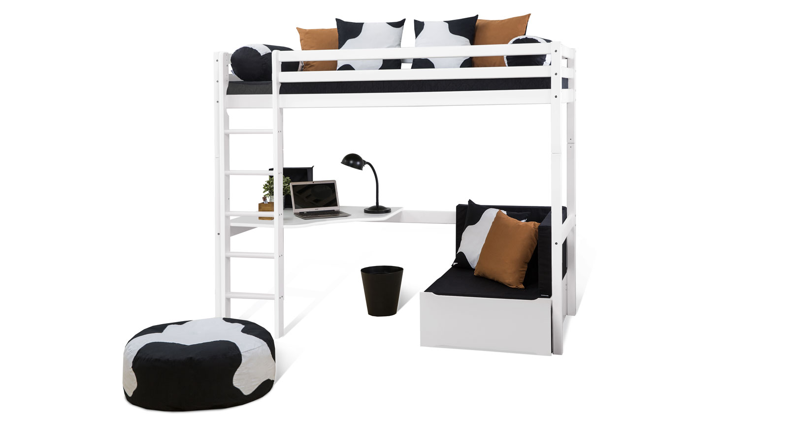 Schreibtischplatte ecke  Hochbett mit Schreibtisch und Couch - Kids Heaven mit Loungeecke