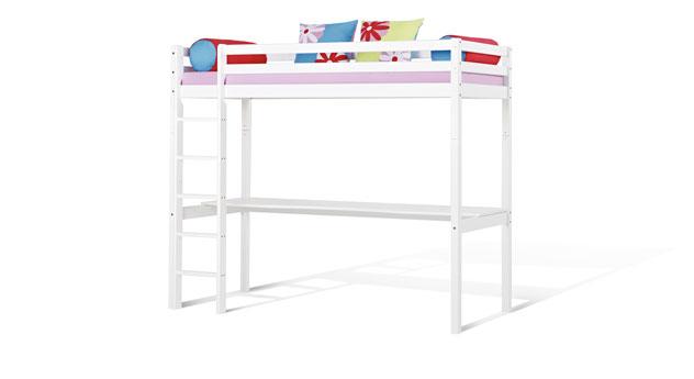Weiß lackiertes Hochbett Kids Heaven mit Schreibtisch aus Kiefer