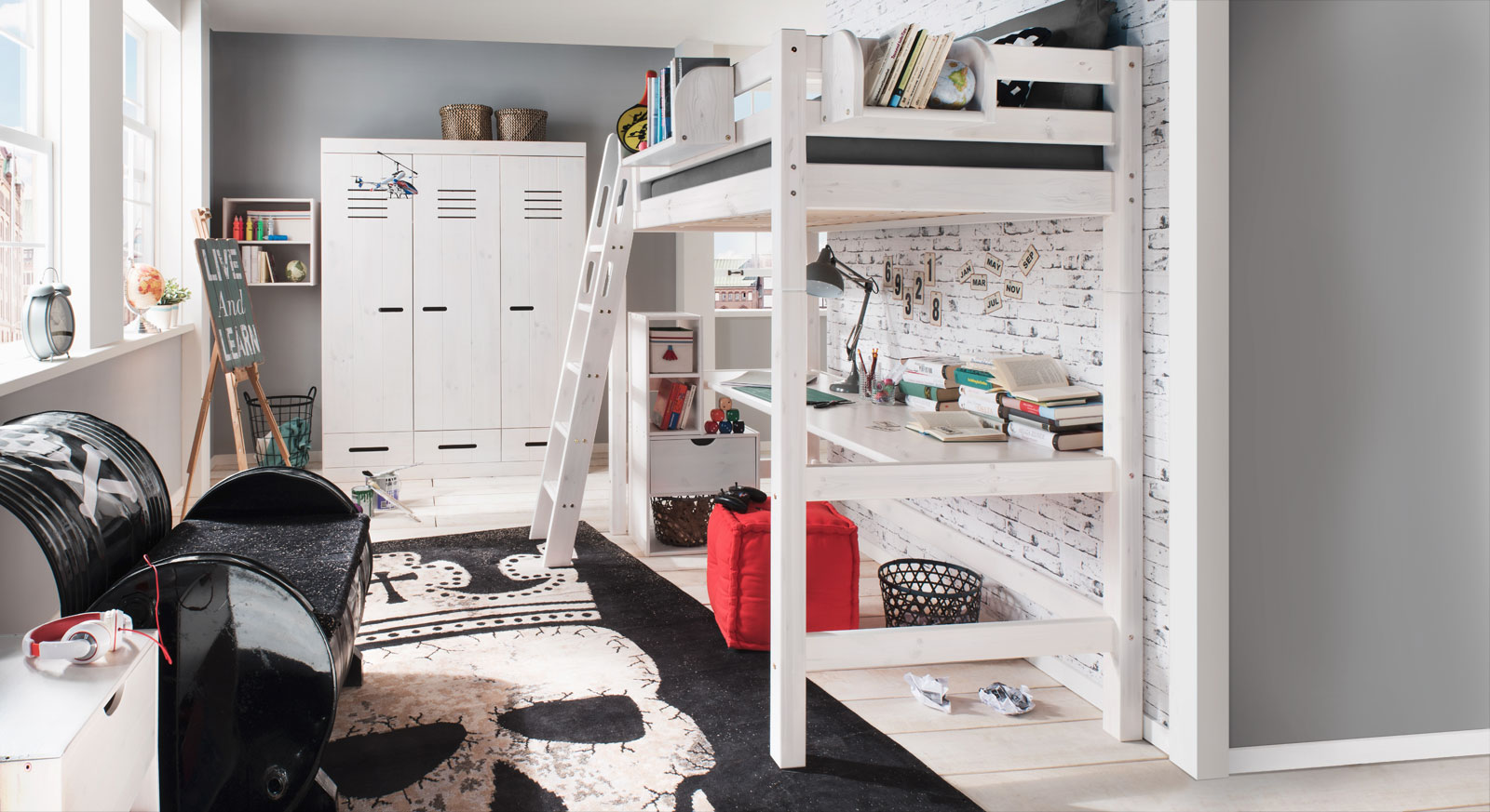 Etagenbett Kinder Mit Schrank : Massives umbaubares hochbett mit leiter für kinder kids paradise