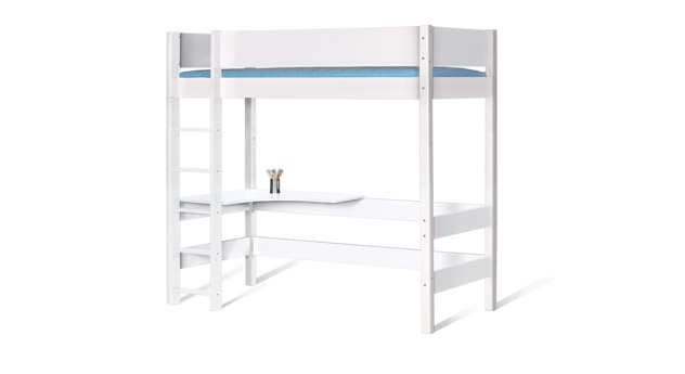MDF Hochbett Kids Town mit Tischplatte in uni Weiß