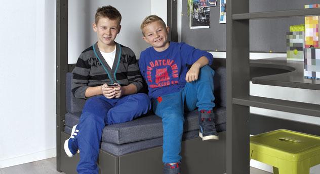 Hochbett Kids Town mit bequemem Ausziehsofa zum Sitzen