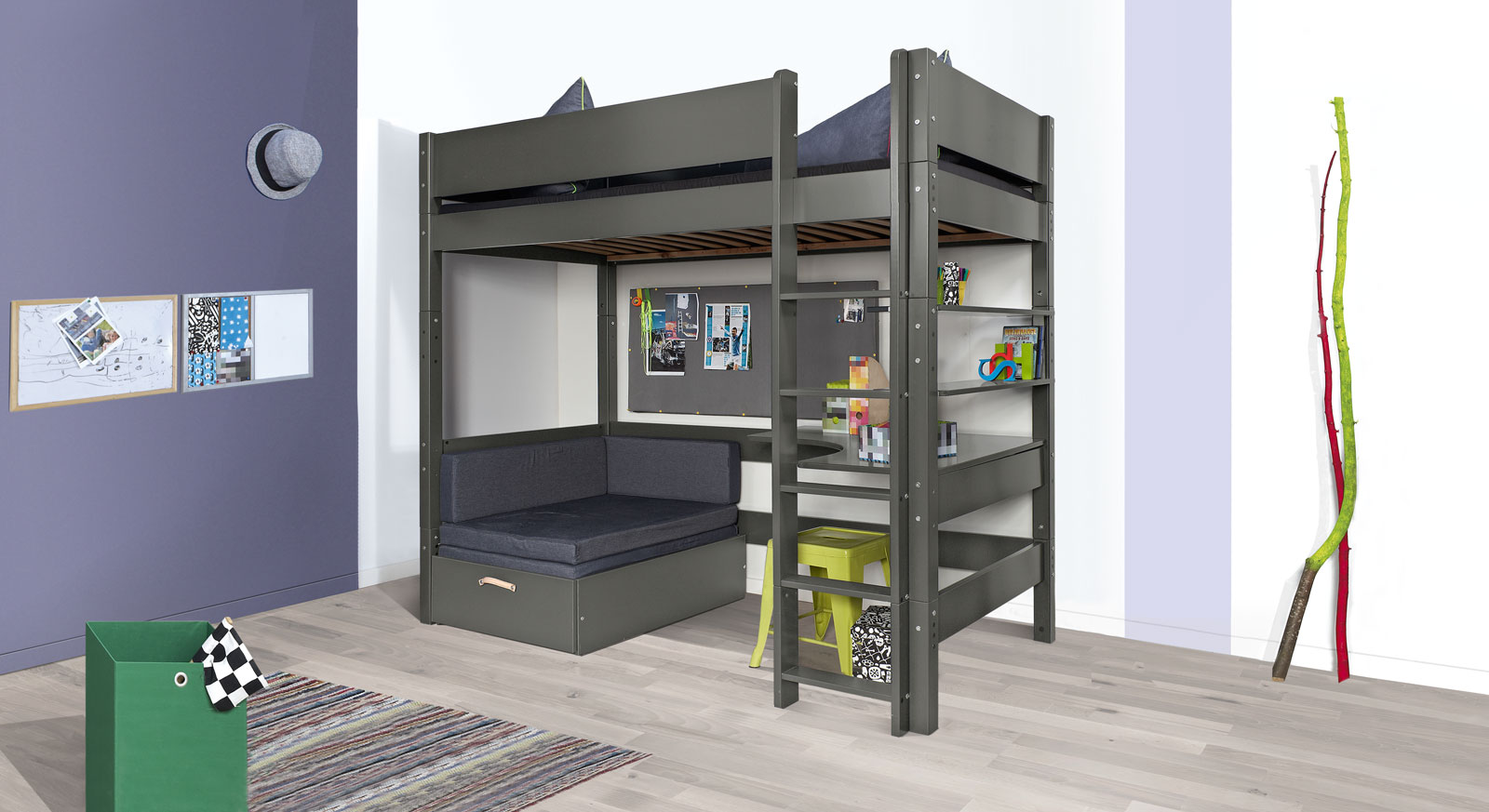 jugendzimmer mit hochbett hausgestaltung ideen. Black Bedroom Furniture Sets. Home Design Ideas