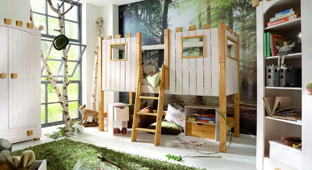 Hochbett Kids Paradise aus Holz für Ihr Kinderzimmer im Ritterburg-Design