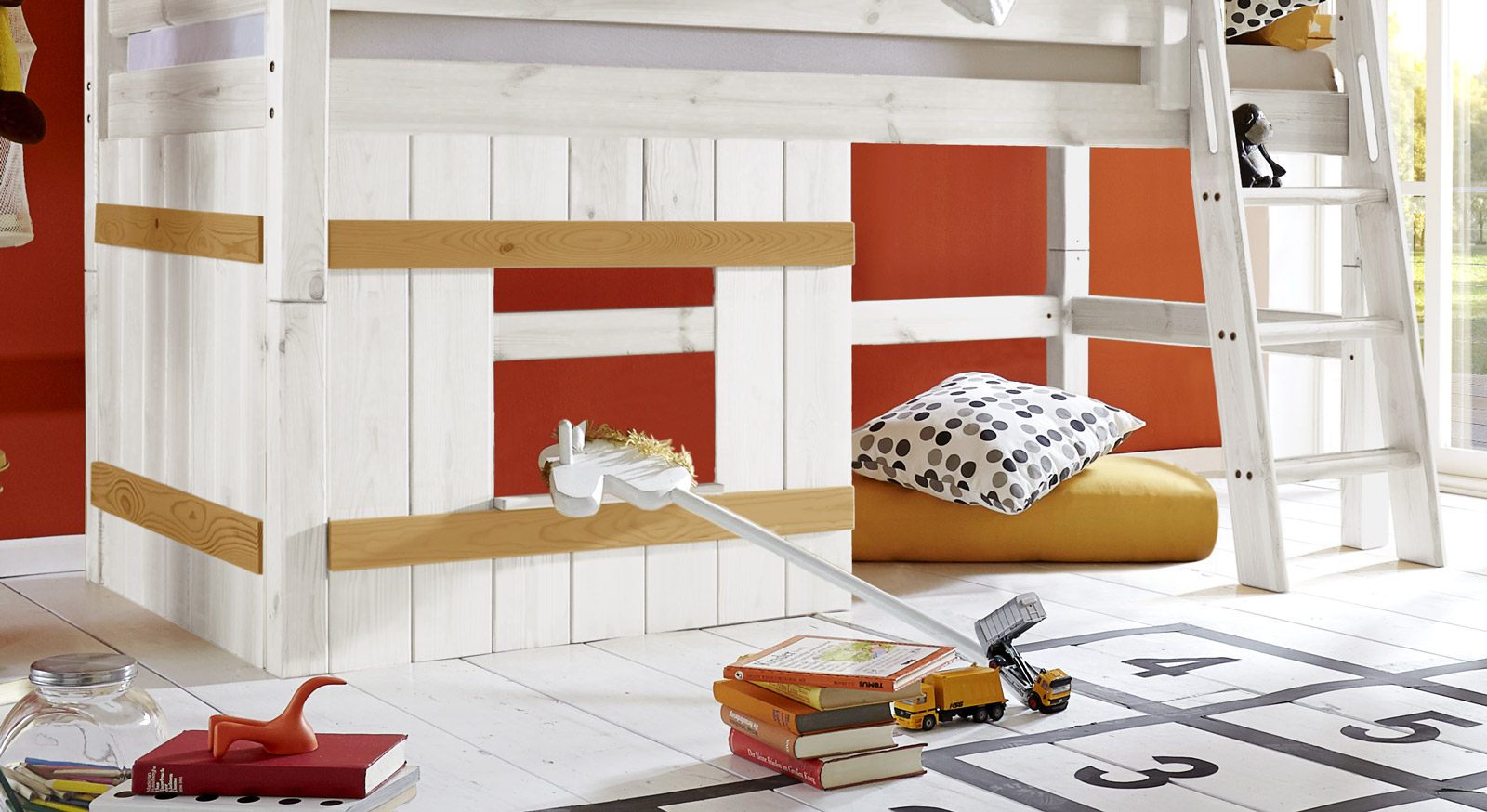 Holzverkleidung Kids Paradise Kiefer Weiß mit gelaugten Leisten