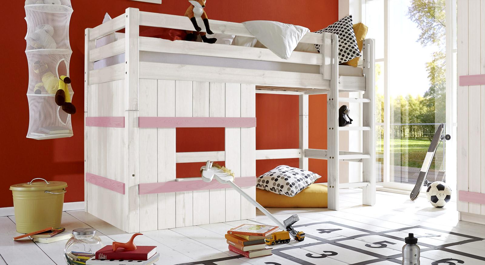 Hütten-Hochbett Kids Paradise Basic in 140cm Höhe in Weiß/Flieder mit gerader Leiter
