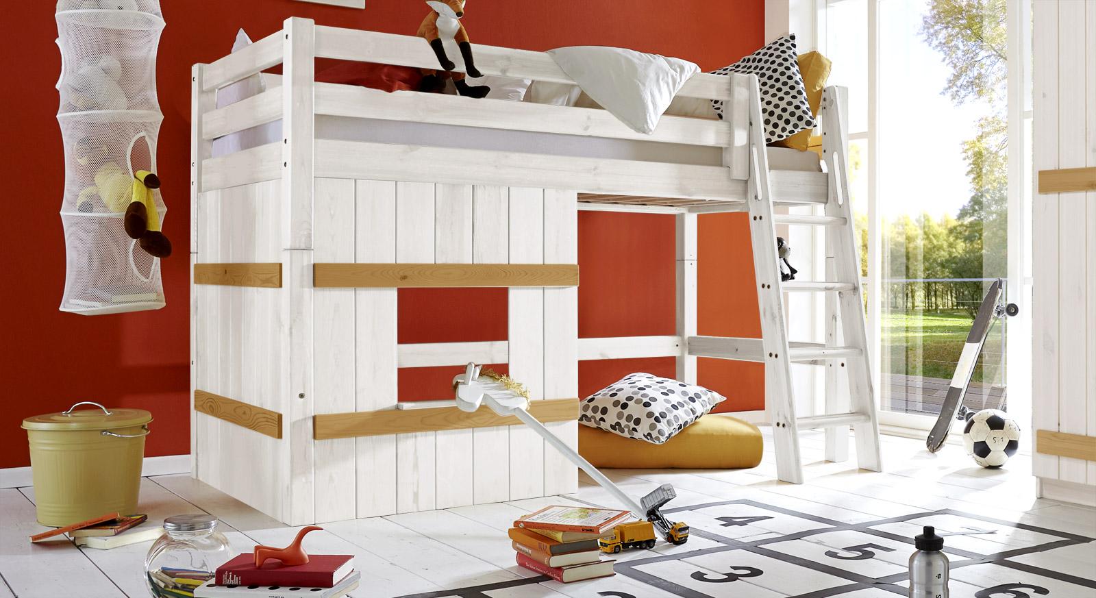 Hütten-Hochbett Kids Paradise Basic 140cm in Weiß/Gelaugt mit schräger Leiter