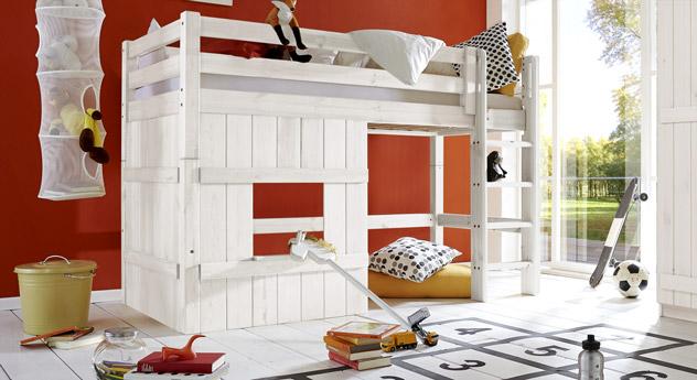 Weißes Hütten-Hochbett Kids Paradise Basic in 140cm Höhe mit gerader Leiter
