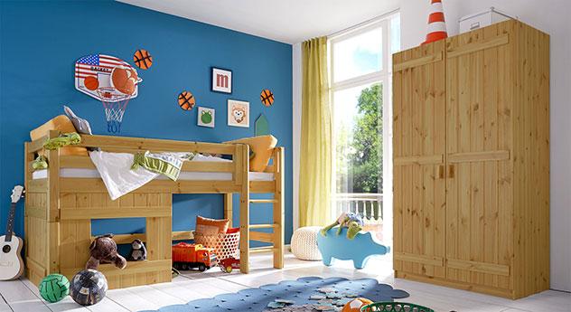 Kinderzimmer Einrichtung mit Hütten-Hochbett Kids Paradise für Jungen