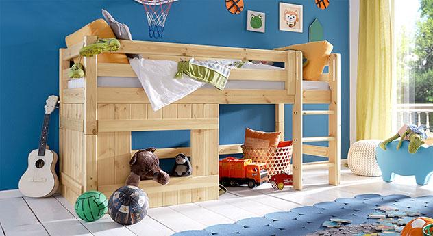 Hütten-Hochbett Kids Paradise für Jungen, Natur lackiert