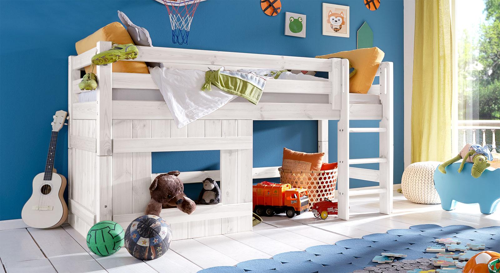 Hütten-Hochbett Kids Paradise für Jungen, Weiß lasiert