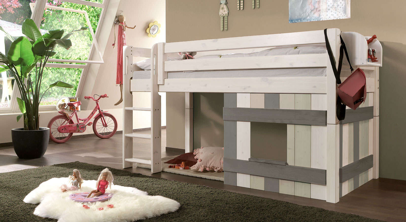 kinderhochbett mit leiter und h tte aus holz kids paradise. Black Bedroom Furniture Sets. Home Design Ideas