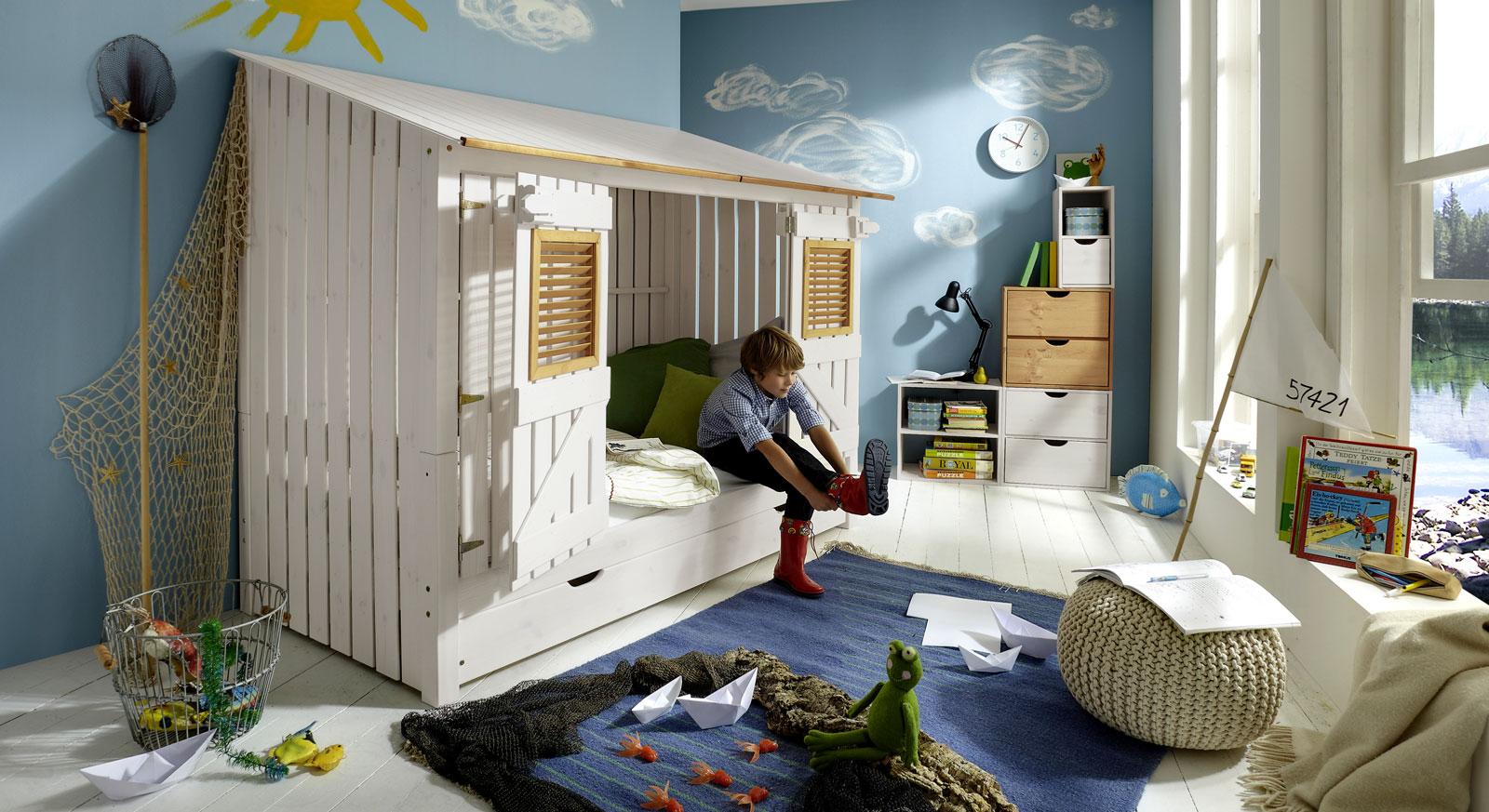 Stabiles Hüttenbett Strandhaus für Kinder