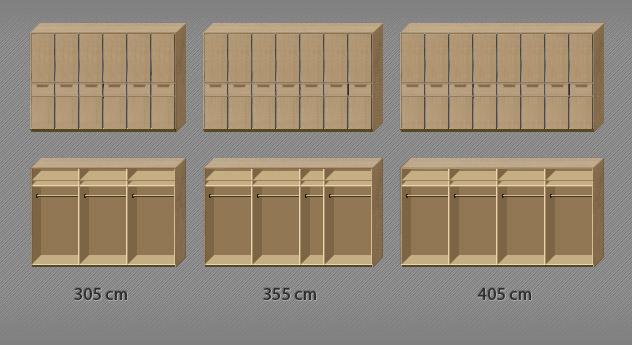 Innenausstattung des Drehtüren-Kleiderschranks Fria bis zur 8-türigen Variante