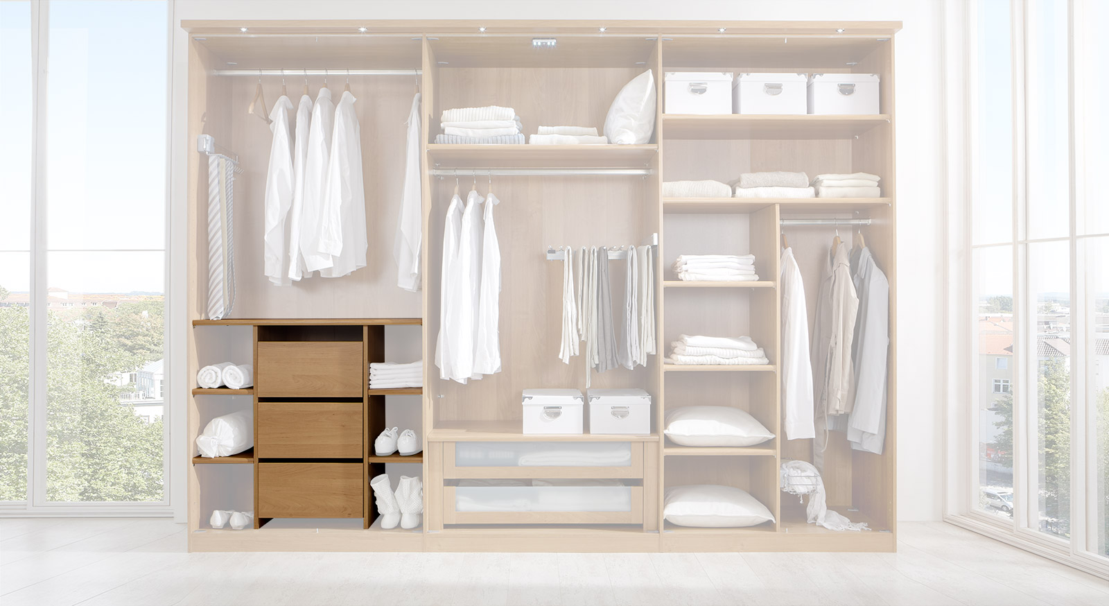 Fächereinsatz der Innenausstattung für Kleiderschränke mit Schubladen