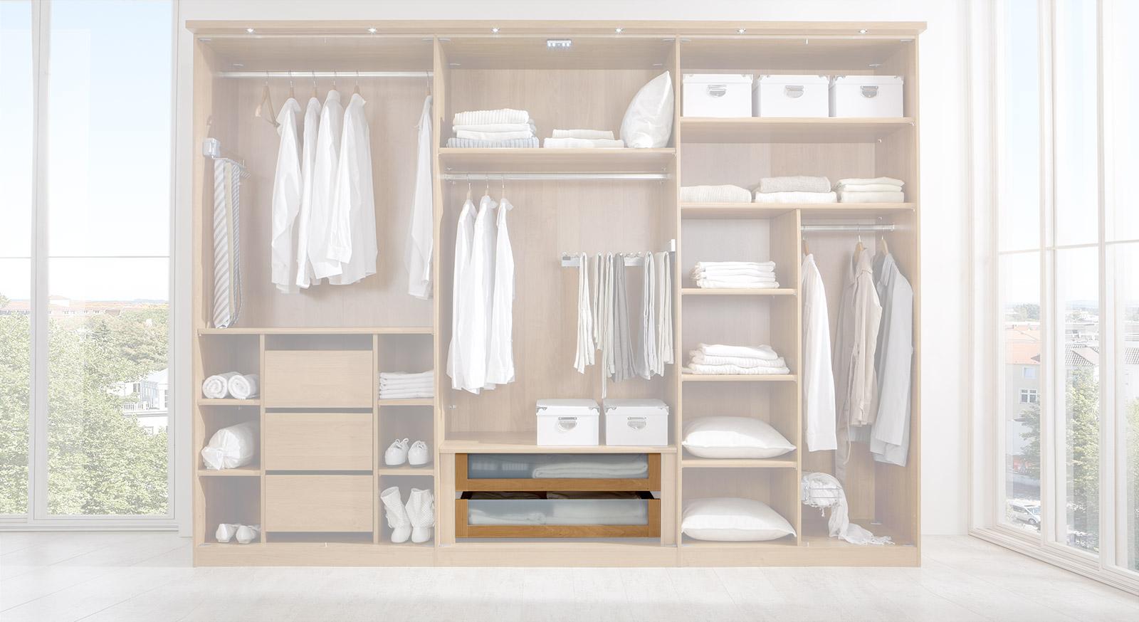 Schubladen-Einsatz der Innenausstattung für Kleiderschränke, mit Glasfront