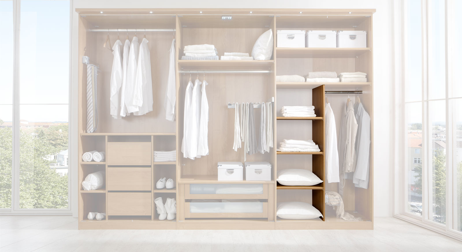 Wäscheboden-Einsatz zur Innenausstattung von Kleiderschränken