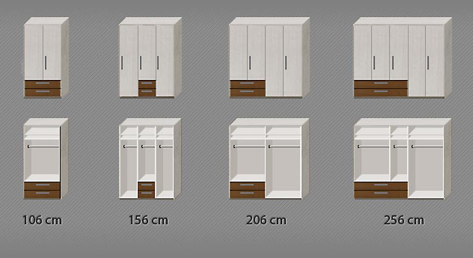 Grafik zur Inneneinteilung des Kleiderschranks Akola mit Maßen
